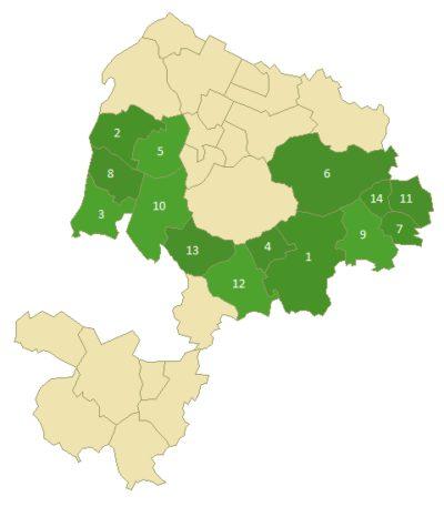 Die Lage des Wahlkreis Bretten im Landkreis Karlsruhe