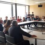 Zusammen mit meinen Abgeordnetenkollegen Joachim Kößler (CDU) und Gerhard Kleinböck (SPD) im Gespräch mit den zehnten Klassen des Melanchthongymnasiums Bretten, die am 9. Mai 2018 den Landtag in Stuttgart besucht haben.