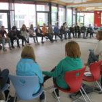 Beim EU-Projekttag am 14. Mai an der Johann-Peter-Hebel-Gemeinschaftsschule: Im Gespräch mit den beiden achten Klassen über u.a. Brexit, aktuell laufende Beitrittsverhandlungen und der Aufnahme von Flüchtlingen in den unterschiedlichen Mitgliedsstaaten.