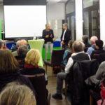Nach der Begrüßung durch Andrea Schwarz MdL und einem Impulsreferat von Sven Giegold MdEP zum Thema wirtschaftliche Nachhaltigkeit gingen die beiden Politiker auf die Fragen des Publikums ein.